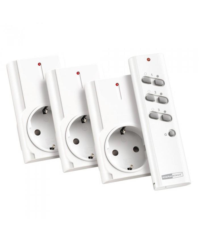 3 stekkerdoos schakelaars met afstandsbediening in set  APA3-1500R