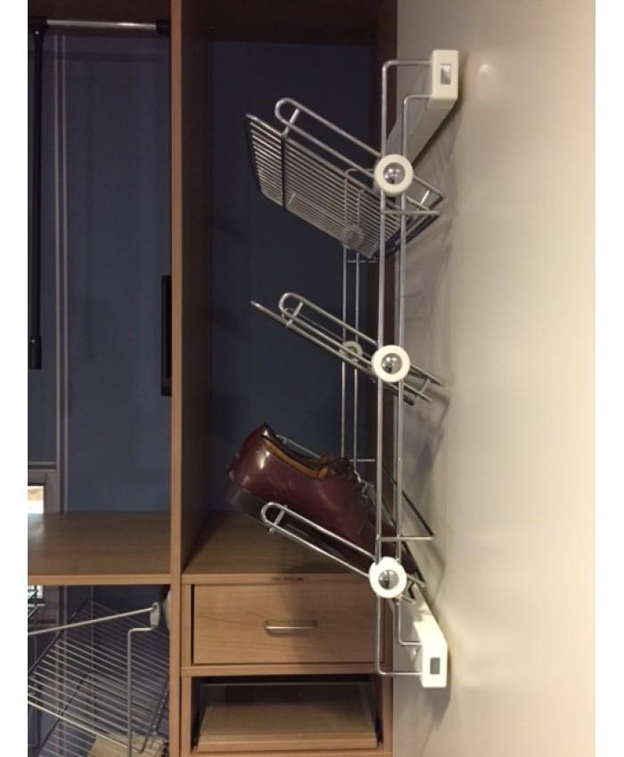Uittrekbaar schoenerek met 3 etages