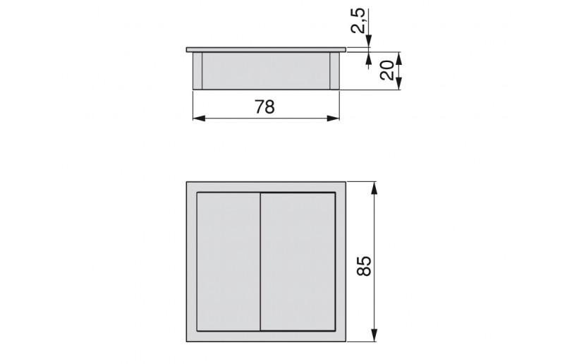 Kabeldoorvoer vierkant kunststof